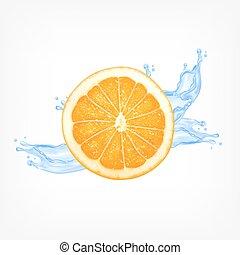 Orangenscheibe mit Wasser
