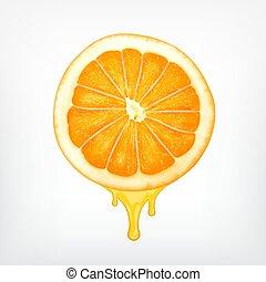 Orangenschnitt mit Tropfsaft