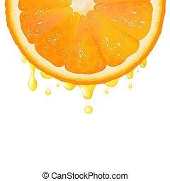 Orangensegment mit Saft