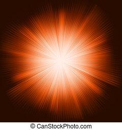 Orangenstrahlen mit funkelnden Sternen. EPS 8