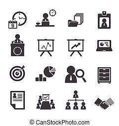 Organisation und Business Management Icon gesetzt.