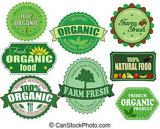Organische und landwirtschaftliche Lebensmittelmarken und Etiketten