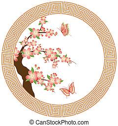 Orientale Kirschblüte Tapete
