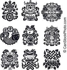 orientalische , emblem, schnörkel