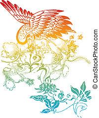 orientalische , vogel, abbildung, klassisch