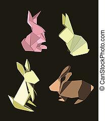 Origami-Kaninchen bereit