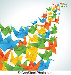 Origami-Papiervögel fliegen abstrakten Hintergrund.