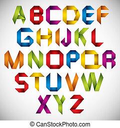 Origami Stil Schrift mit bunten Buchstaben.
