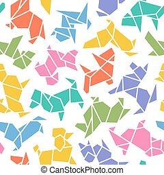 origami, vektor, hund, hintergrund, seamless