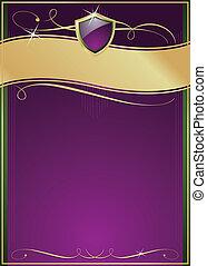 Ornate lila, grün & gold Seite mit Schild.