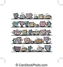 Ornate Tassen auf Regalen, Sketch für Ihr Design