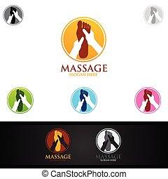 osteopathie, massage, rückseitige schmerz, chiropraktik, design, logo