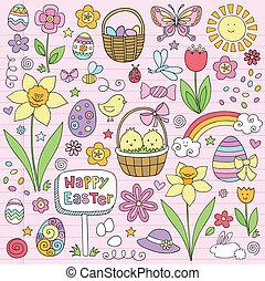 Oster Frühlingsblumen-Doodles Vektor