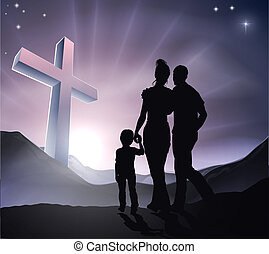 Osterchristliche Kreuzfamilie.