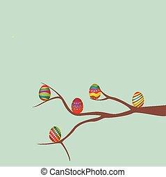 Ostereier und Baum.