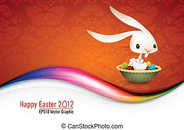 Osterhase sitzt in einer Schüssel voller farbiger Eier