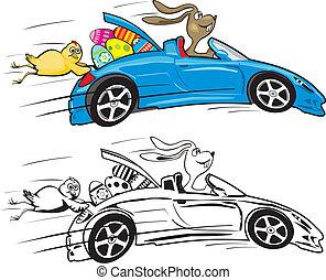 Osterhase und sein verrückter Cabrio