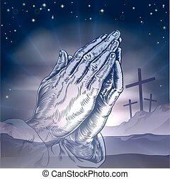 Osterkreuze und beten Hände.