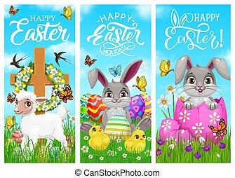 ostern, schafe, küken, feiertag, kaninchen, glücklich