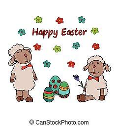 Ostern traditionelle Symbolkarte mit Eiernnnest.