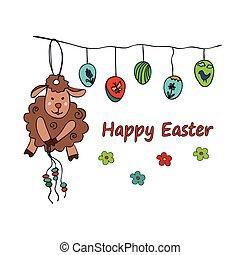 Ostern traditionelle Symbolkarte mit Schafen