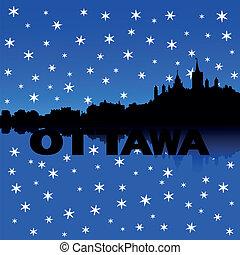 Ottawa Skyline Schnee Illustration.