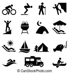 Outdoor Freizeit- und Freizeit-Icons.