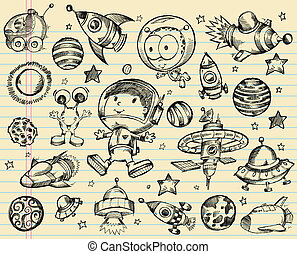 Outer space doodle Sketch set.