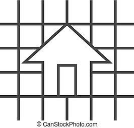 Outline Ikone - Hausplan