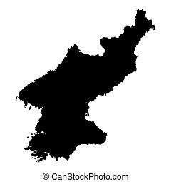 outline., landkarte, korea, nord