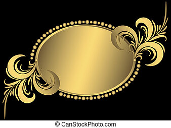 Oval goldener Jahrgangsrahmen