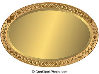 Oval-Metal-Gold und Bronzeplatte