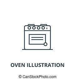 Oven Illustration Vektorlinie Icon, lineares Konzept, Umrisszeichen, Symbol.