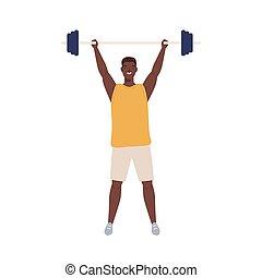 overhead., muskulös, wohnung, freigestellt, oder, hintergrund., karikatur, sportler, athletische, abbildung, hebt, powerlifter, weightlifter, mann, sportkleidung, junger, hantel, vektor, weißes, schwer