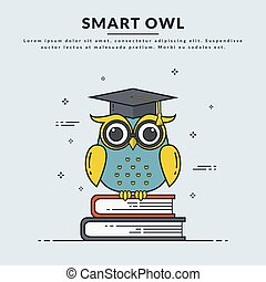owl., banner, klug, vektor