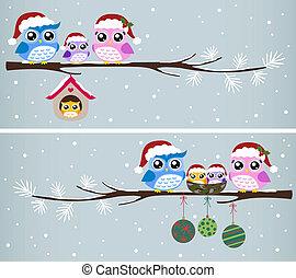 Owl-Familien-Weihnachtsfeier