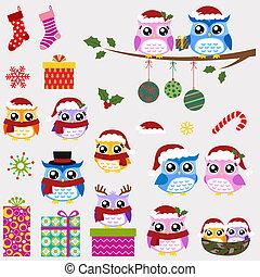 Owl-Familien-Weihnachtsset
