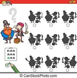 Pädagogische Schattenspielaktivität mit Piraten.