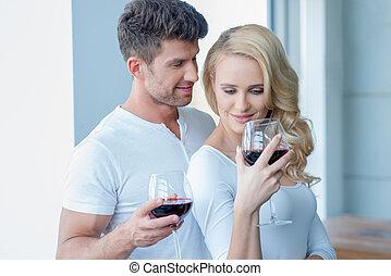 paar, feiern, trinken, glücklich, rotwein