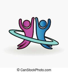 paar, glücklich, leute, logo, tanzen