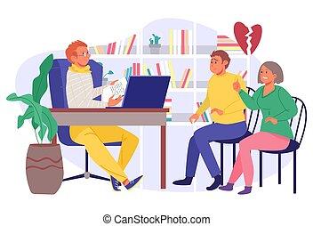 paar, hören, illustration., mann, psychotherapie, vektor, familie, frau, problem, therapie, hilfe, psychologie, patient, psychologe