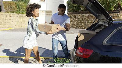 paar, junger, amerikanische , bewegen, afrikanisch, daheim