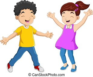 paar, kind, glücklich, lustiges, karikatur