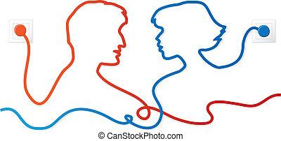 paar, kommunizieren