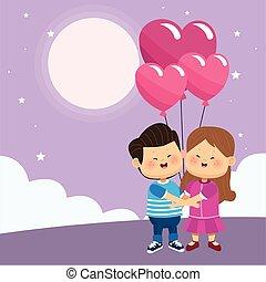 paar, luftballone, herzen, glücklich