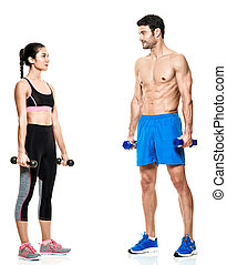 Paar Männer und Frauen Fitnessübungen isoliert.
