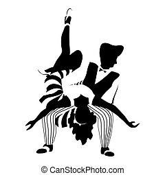 paar, schwingen, tanz, silhouette