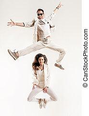 paar, studio, begabt, hell, tanzen