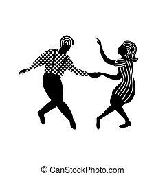 paar, tanz, schwingen, leute