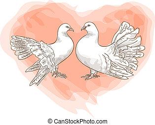 Paar Tauben mit einem Symbol der Liebe - rotes Herz.